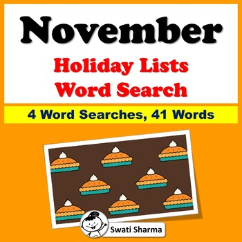 November Holiday Lists, Word Search Worksheets