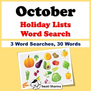 October Holiday Lists, Word Search Worksheets