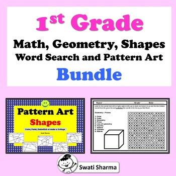 1st Grade Math, Geometry, Shapes Word Search and Pattern Art Bundle