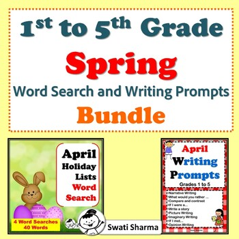 1st to 5th Grade, Spring Word Search and Writing Prompts Bundle