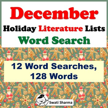 December Holiday Literature Lists, Word Search Worksheets