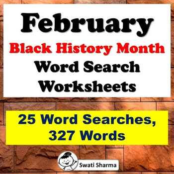 February Black History Month, Word Search Worksheets