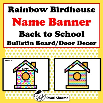 Rainbow Bird House Name Banner, Back to School, Bulletin Board Decor