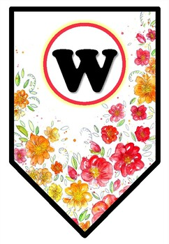 'Welcome' Pennant Banner, Spring, Flower Theme, Bulletin Board Letters