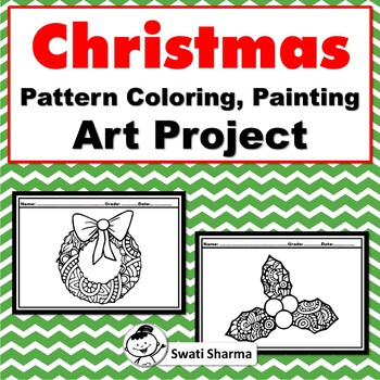 Christmas, Pattern Coloring, Painting Art Project, No Prep Sub Plan