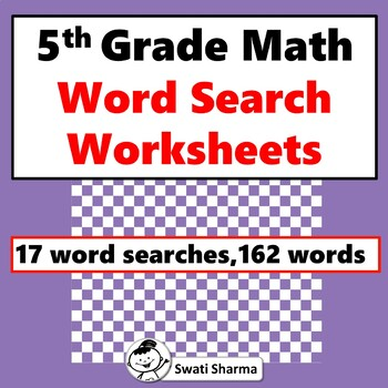 5th Grade Math, Word Search Worksheets