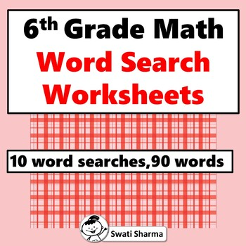 6th Grade Math, Word Search Worksheets