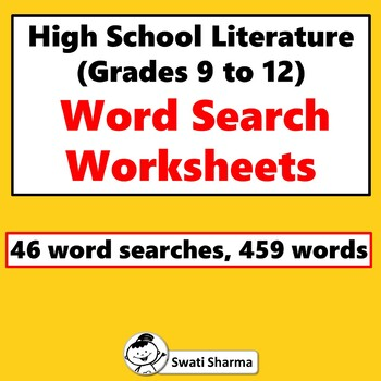 High School Literature, Word Search Worksheets
