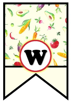 Vegetables Theme, 'Welcome' Pennant Banner, Bunting, Bulletin Board Letters