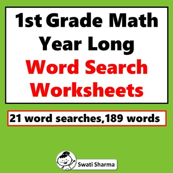 1st Grade Math Vocabulary, Word Search Puzzle, Year Long Worksheets, No Prep