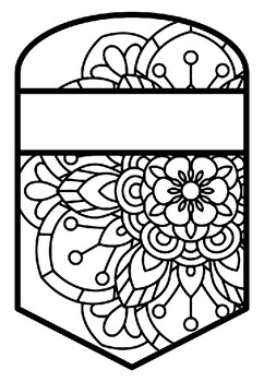 Pennant Bulletin Board Name Banner, Mandala Style, Pattern Coloring, Set 5
