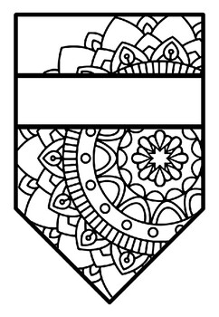 Pennant Bulletin Board Name Banner, Mandala Style, Pattern Coloring, Set 8