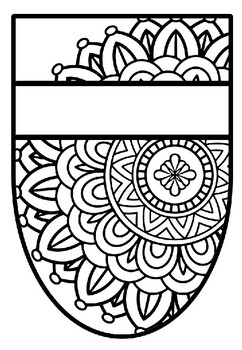 Pennant Bulletin Board Name Banner, Mandala Style, Pattern Coloring, Set 16