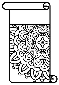 Scroll Style Pennant, Name Banner, Mandala Style, Pattern Coloring, Set 21 Decor