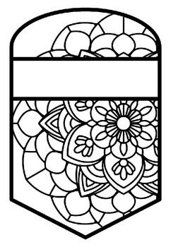 Pattern Coloring Pennant, Name Banner, Mandala Style, Set 26, Classroom Decor