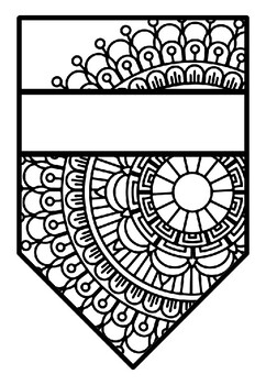 Pattern Coloring Pennant, Name Banner, Mandala Style 28, Learn a new language
