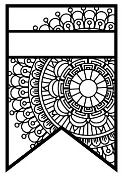 Pattern Coloring Pennant, Name Banner, Mandala Style, Set 33, Classroom Decor