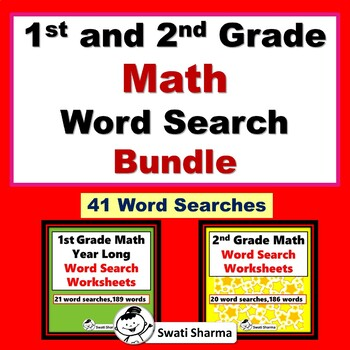 1st and 2nd Grade Math Word Search, Year long, No Prep Bundle