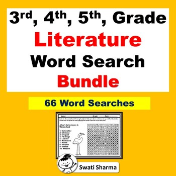 3rd, 4th, 5th, Grade Literature Vocabulary, Year Long, Word Search Bundle