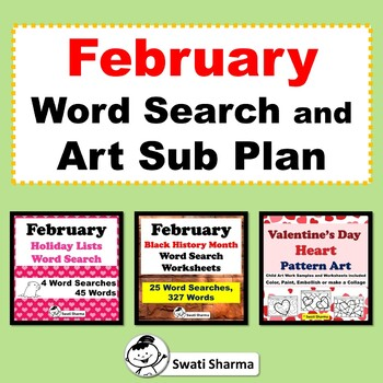 February Word Search and Valentine's Day Art Sub Plan Bundle