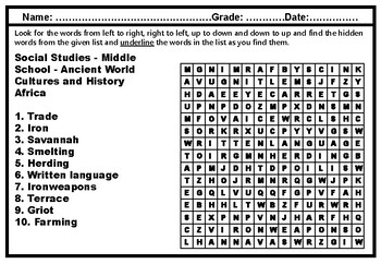Middle School, Social Studies, Word Search Worksheets, Year long, Sub Plans