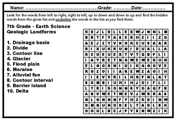 7th Grade, Year Long Science, Word Search Worksheets, Science Sub Plans