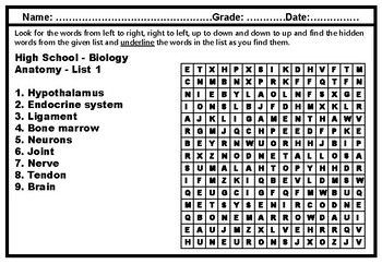 High School Science Year Long Word Search Worksheets Science Vocabulary Sub Plan
