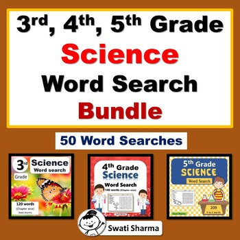 3rd, 4th, 5th Grade Science Word Search Bundle, Year Long Science Vocabulary
