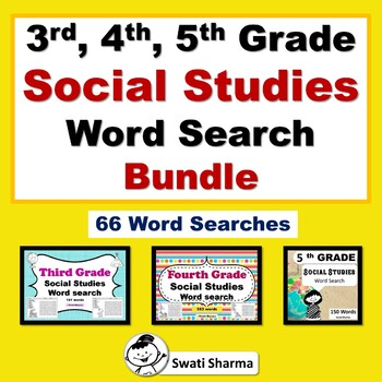 3rd, 4th, 5th Grade Social Studies Word Search Bundle, Vocabulary Sub Plan