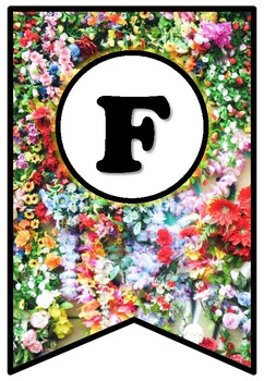 Colorful Flowers, Pennant Banner Bulletin Board Letters, Spring Decor