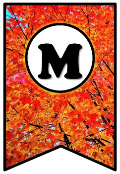 Fall, Trees, Maple Leaves, Pennant Banner Bulletin Board Letters, Autumn Decor