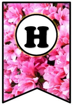 Pink Flowers, Pennant Banner Bulletin Board Letters, Spring Alphabet Theme Decor