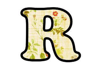 Floral Print Fabric Bulletin Board Letters, Numbers, Symbols, Spring Class Decor