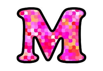 Magenta, Pink, Mosaic Bulletin Board Letters, Numbers, Symbols, Classroom Decor