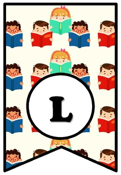 WE LOVE READING, Bulletin Board Sayings Pennant Letters, Posters, Back To School