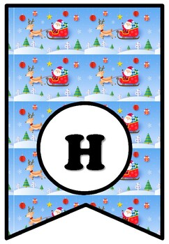 Here Comes Santa Claus, Bulletin Board Sayings, Christmas Pennant Banner Poster