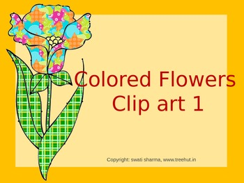 Spring bulletin board, scrapbook, classroom display, Colored Flowers Clip art 1