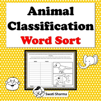 Animal Classification Word Sort Worksheets