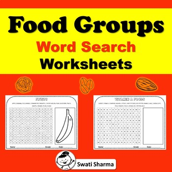 Food Groups Word Search Worksheets