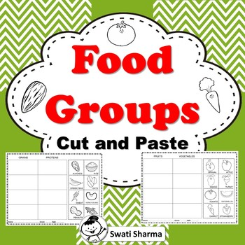 Food Groups Cut and Paste Worksheets