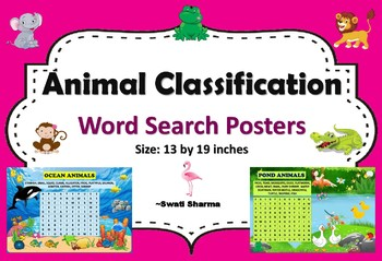Animal Classification Word Search Posters