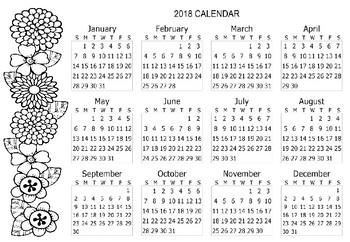 Free 2018 Calendar Coloring Page