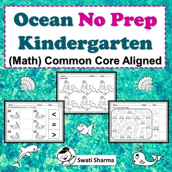 Ocean No Prep Kindergarten Math Packet