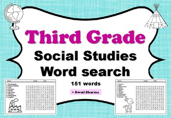 Third Grade Social Studies, Word Search Worksheets