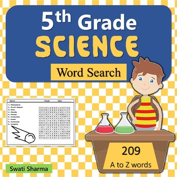 5th Grade Science, Word Search Worksheets, No Prep Sub Plan
