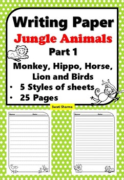 Writing Paper Jungle Animals, Part 1