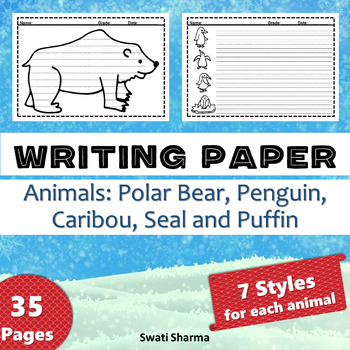 Winter Writing Paper, Polar Animals, Polar Bear, Penguin, Caribou, Seal & Puffin