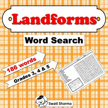Landforms  Word Search for Grades 3, 4 and 5