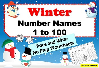 Winter Number Names 1 to 100 Trace and Write Handwriting