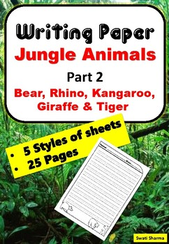 Writing Paper Jungle Animals, Part 2